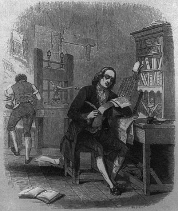 Benjamin Franklin as a young man, seated at desk in printing shop, 1863, Prints and Photographs Division, Library of Congress