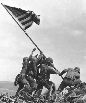 Raising the Flag on Iwo Jima, photo by Joe Rosenthal, 1945